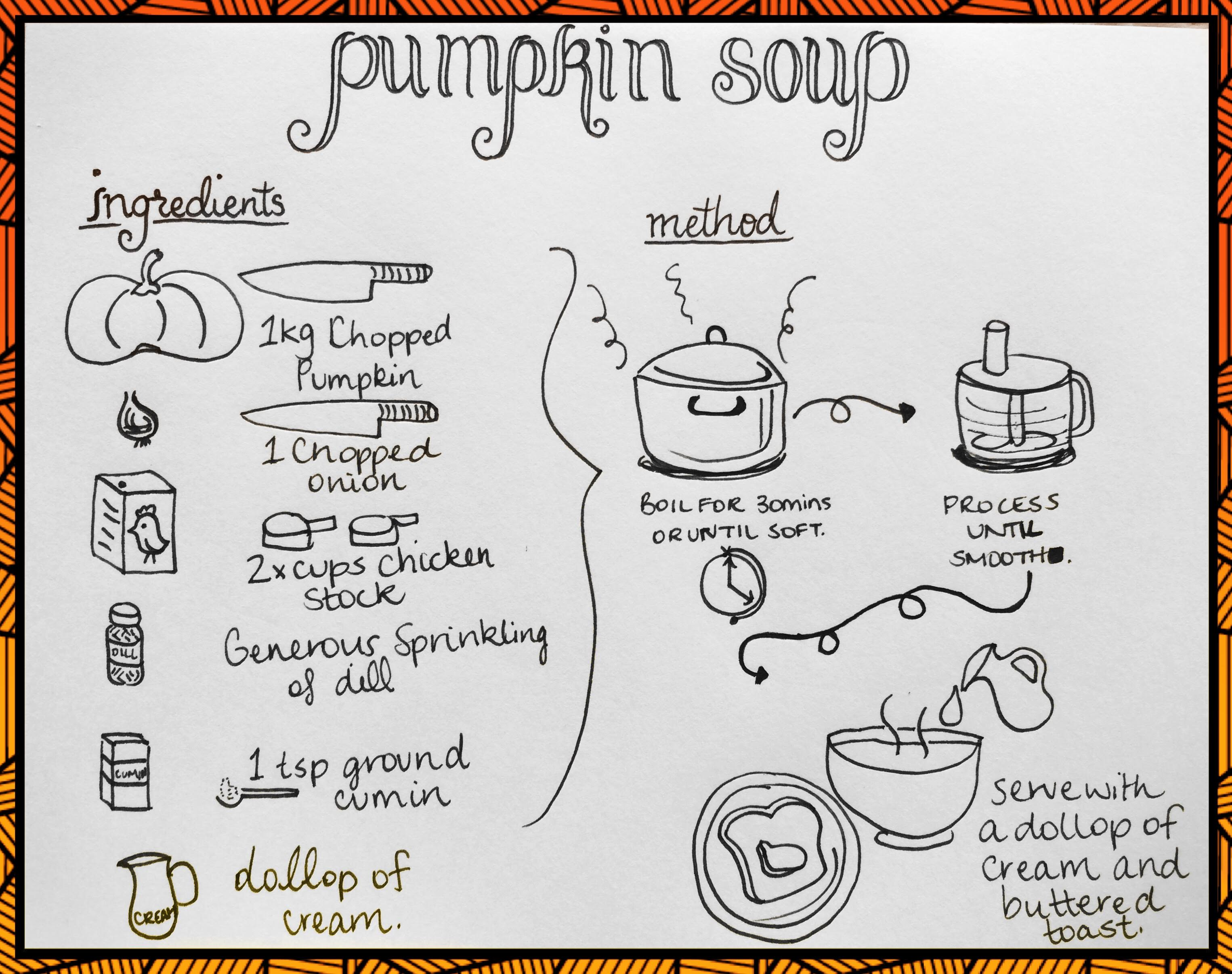 Pumpkin Soup Recipe 1kg chopped Pumpkin 1 chopped onion 2 Cups of chicken stock generous sprinkling of dill 1 teaspoon of ground cumin  boil everything for 30 minutes or until soft. Process in a food processor until smooth. Serve with a dollop of cream and buttered toast.