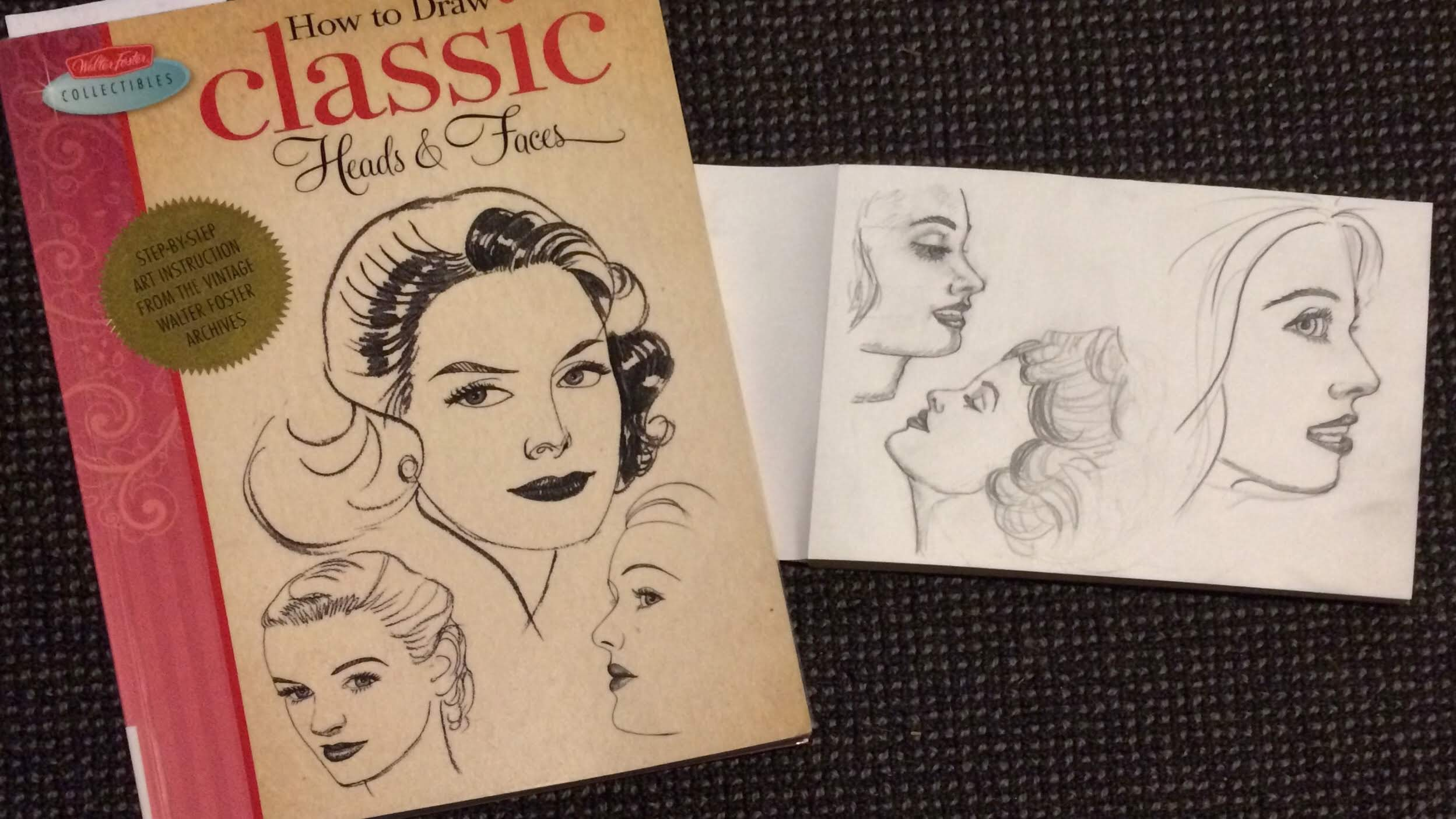 How to Draw Classic Heads and Faces by Walter Foster Collectibles and sketches I did from the book of three women's faces in profile.