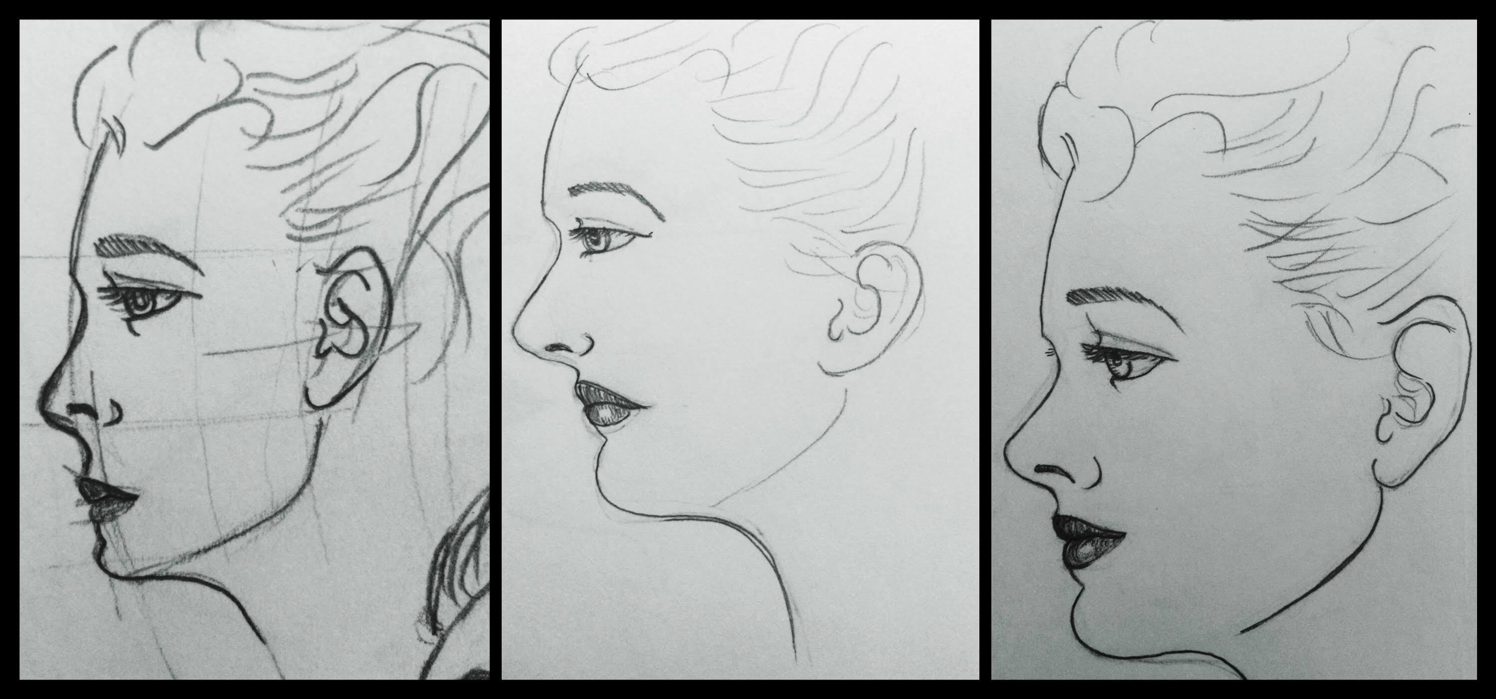 "Three sketches of the same woman's face. Each one an improvement on the previous one with the caption ""practice, practice, practice"""