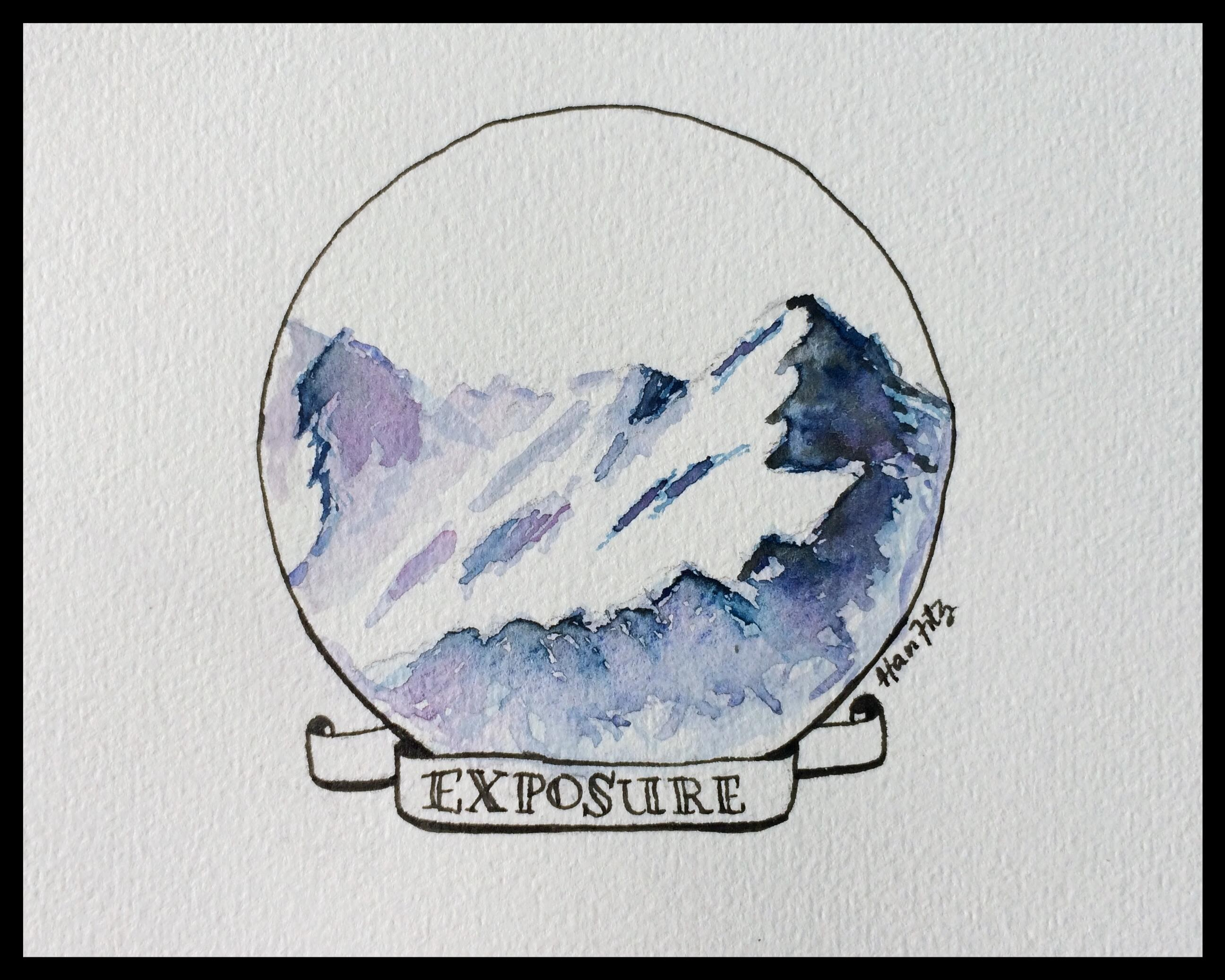 "The word ""Exposure"" with a picture of a large, snow covered mountain in the background."